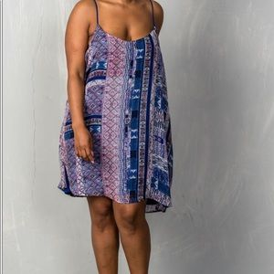 Dresses & Skirts - Blue print cami swing plus size dress